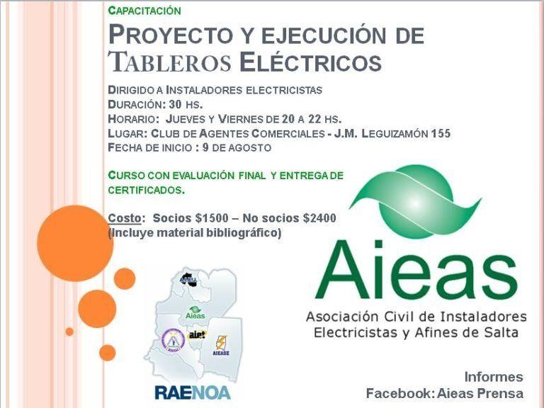 AIEAS prepara un Curso sobre Proyecto y ejecución de Tableros Eléctricos