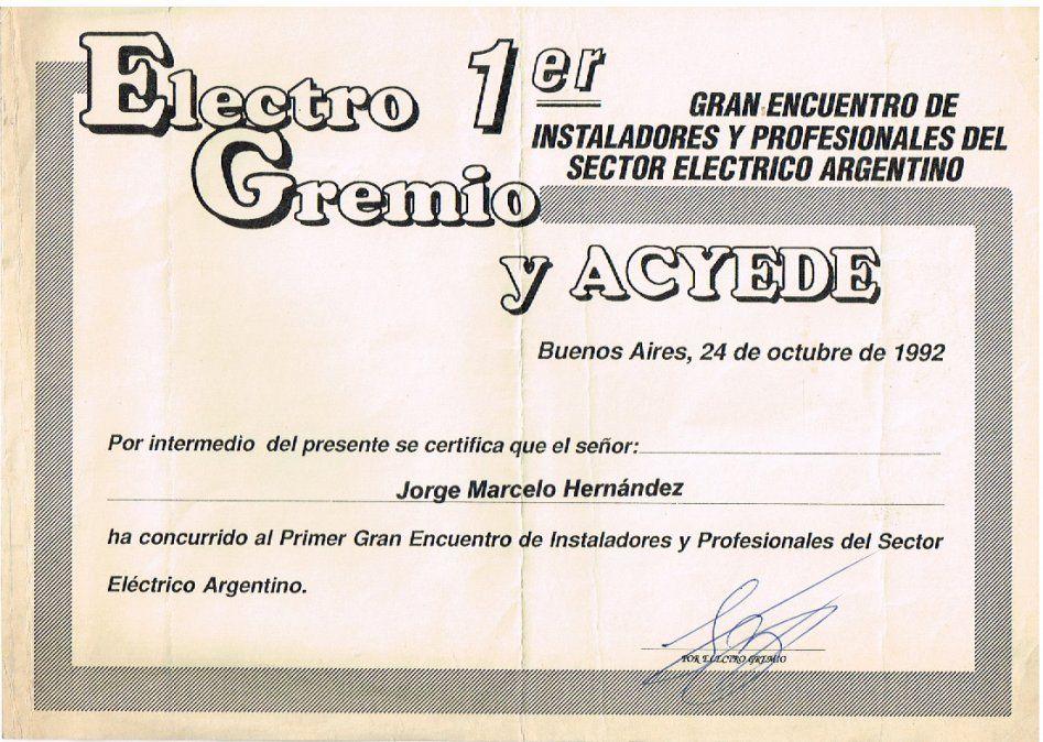 Diploma de uno de los asistentes al evento
