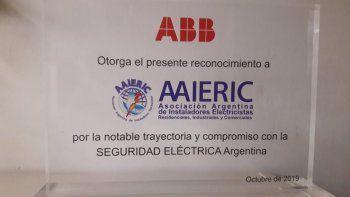 AAIERIC recibió un reconocimiento por su compromiso con la Seguridad Eléctrica