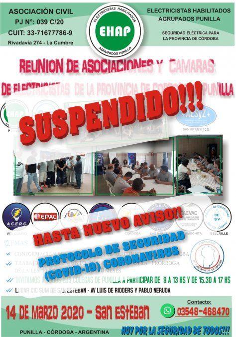 Suspendieron la reunión de Asociaciones y Cámaras de Electrocistas de Córdoba