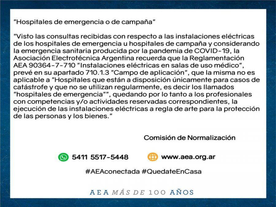 Comunicado de la AEA sobre las instalaciones eléctricas en hospitales