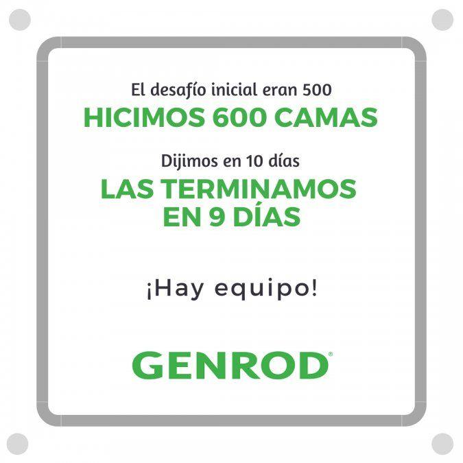 GENROD construyó 600 camas para ayudar a los hospitales