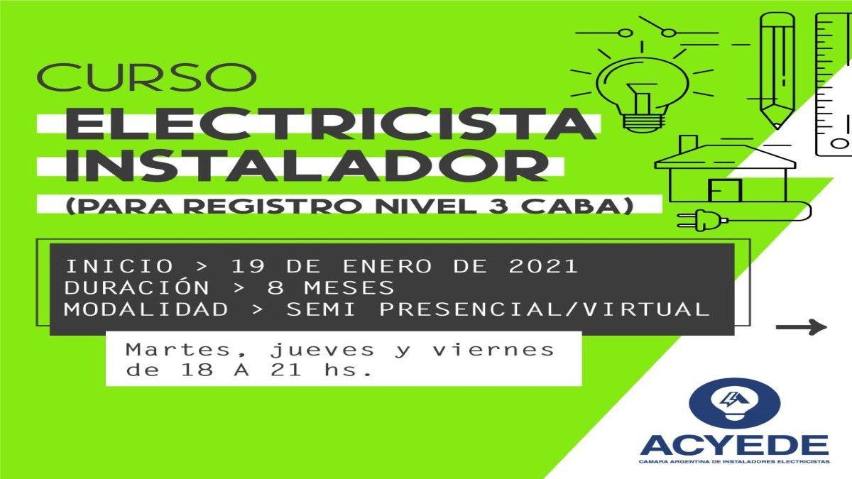 Curso de Electricista Instalador para Registro de Nivel 3 en CABA