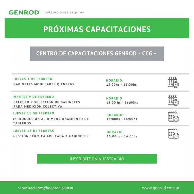 GENROD: mirá el calendario de cursos de febrero