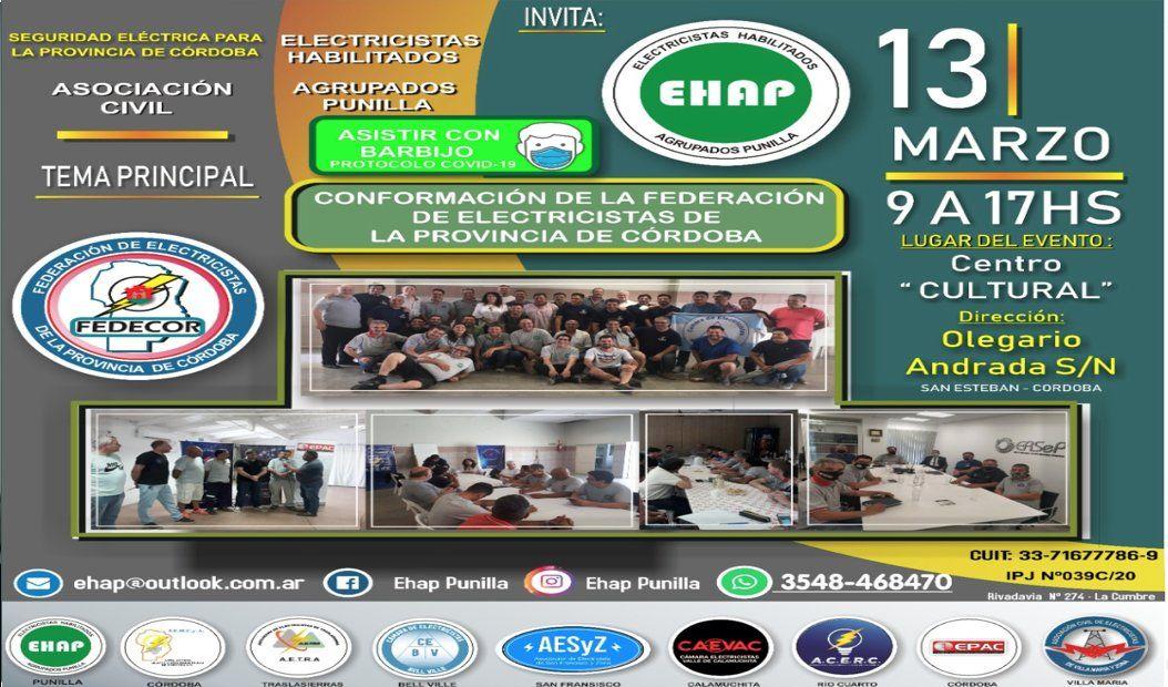 Reunión de Conformación de la Federación de Electricistas de la Provincia de Cordoba
